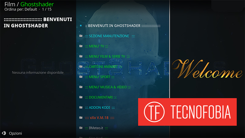 Streaming tv : Ghost shader addon su Kodi